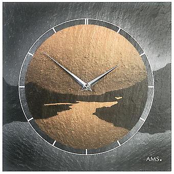 AMS 9513 wall clock quartz of slate natural slate motif fjord slate clock