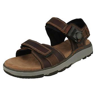 Mens Clarks Casual Strapped Sandals Un Trek Part - Dark Tan Leather - UK Size 8.5G - EU Size 42.5 - US Size 9.5M