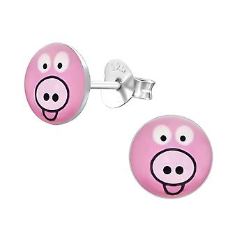 Pig - 925 Sterling Silver Colourful Ear Studs - W19705x