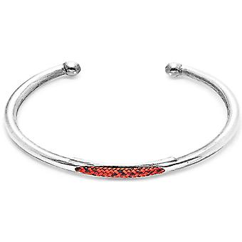 Anchor and Crew Trent Silver and Rope Bangle - Red Noir