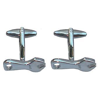 Bassin et clé marron boutons de manchette - Silver