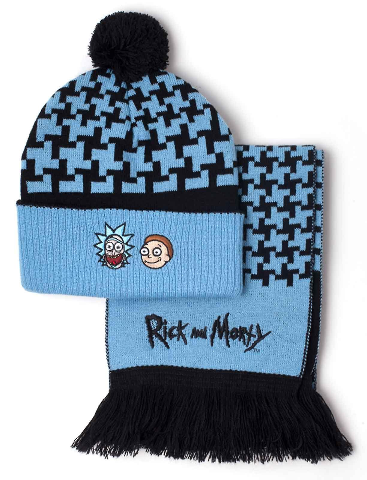 Rick And Morty Beanie And Scarf Crazy Faces Logo New
