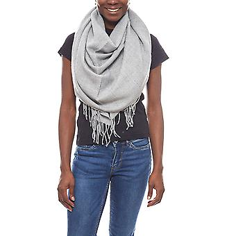 pieces of soft ladies wool scarf with fringe light grey