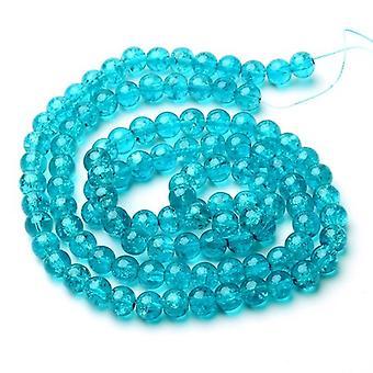 Strand 95 + Teal Blue knäckt glas 8mm Plain runda pärlor Y07655