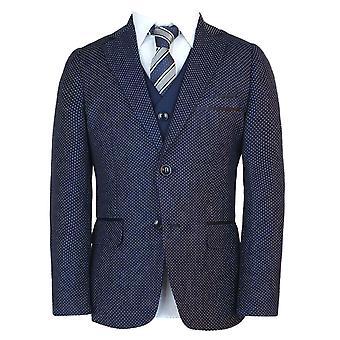 Мальчики итальянский Slim Fit итальянский 3 кусок горошек синий Pageboy, свадьбы, ужина, причастие костюм Романо