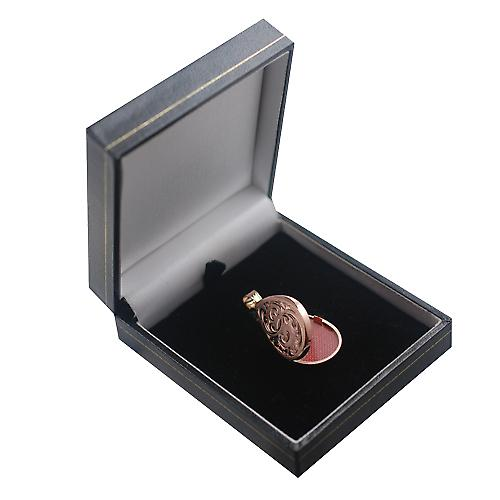9ct Rose Gold 28x19mm engraved flat tear drop Locket