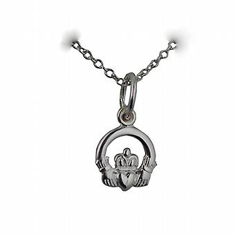 Silver 8x6mm Claddagh Pendant with a rolo Chain 24 inches