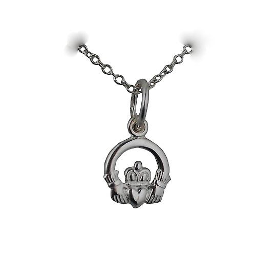 Silver 8x6mm Claddagh Pendant with a rolo Chain 14 inches Only Suitable for Children