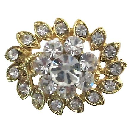 Exquisite Exclusive Wedding Brooch Gold Flower Dazzling Cubic Zircon