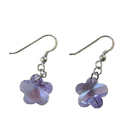 Sterling Silver French Wire Earrings Amethyst Flower Earrings