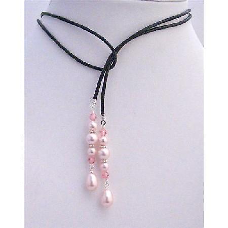 Lariat Necklace Swarovski Rosaline Pearl Crystals Teardrop Necklace