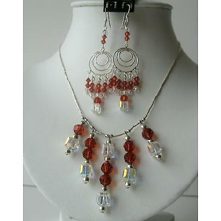 Swarovski Red Indian & AB Crystals Bridal Sterling Silver Necklace Set