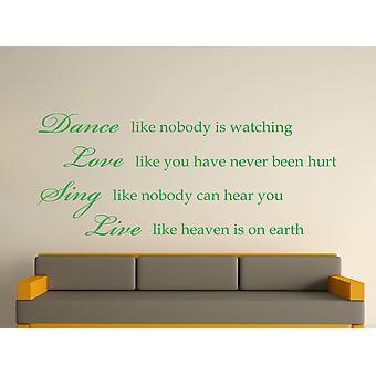 Dance Like Nobody Is Watching Wall Art Sticker -  Green