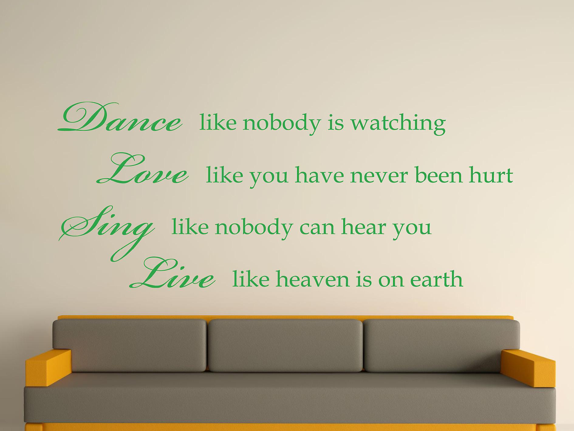 Dance Like Nobody Is Watching Wall Art Sticker -  Green
