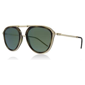 Emporio Armani EA2056 30026R Mt Pale Gold/Green Havana EA2056 Round Sunglasses Lens Category 3 Lens Mirrored Size 54mm
