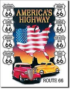 Route 66 Americas Highway (Rods and Badges) Metal Sign  (de)