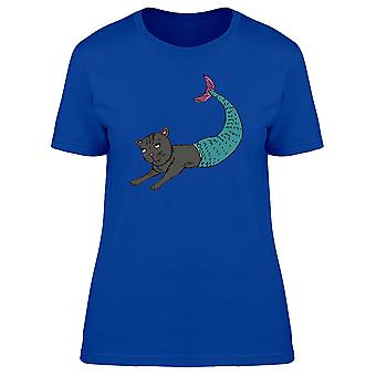 Cat With Turquoise Mermaid Tail Tee Women's -Image by Shutterstock
