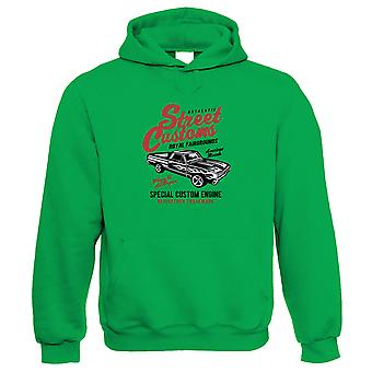 Street Custom Hoodie | Muscle Supercharged V8 Vintage Power Racing Mopar  | Muscle American V8 Iconic Rear Wheel Performance  | Motoring Gift Him Her Birthday