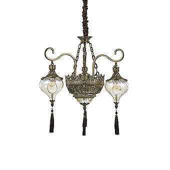 Ideal Lux Harem Indian Style Glass And Brass Ceiling Pendant Light