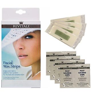 Revitale facial cera tiras kit enriquecido té verde y menta normal y sensible de la piel