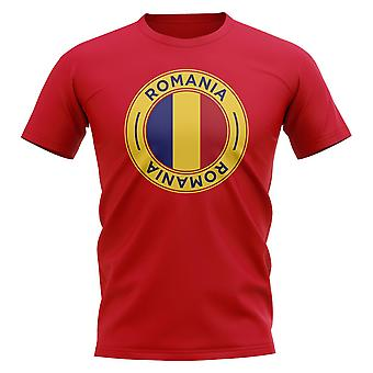 Rumänien Fußball-Badge T-Shirt. (Red)