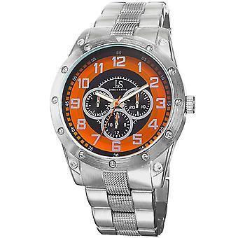 Joshua & Sons Men's JS47OR Silver Multifunction Quartz Watch with Silver Bracelet