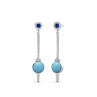 Spelman College Two-Tone Enamel Dangle Earrings In Blue And Light Sky
