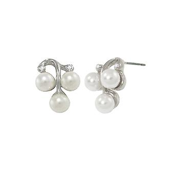 Eternal Collection Orchestral White Pearl Diamante Silver Tone Stud Pierced Earrings