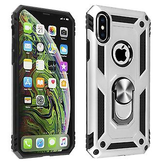 iPhone XS Max Bi material Case Rigid and Flexible Ring Holder Silver