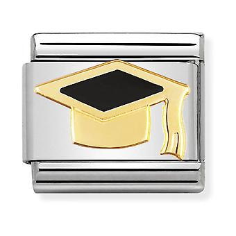Nomination Classic Graduate Steel, Enamel and 18k Gold Link Charm 030223/08