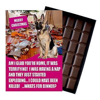 Schäfer rolig julklapp för hundälskare boxed choklad gratulationskort Xmas present