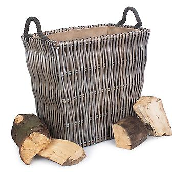 Small Grey Rectangular Wicker Log Basket