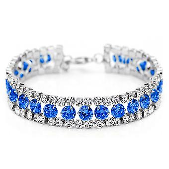 14K Gold Plated Blue Cubic Zirconia Tennis Bracelet, 15cm