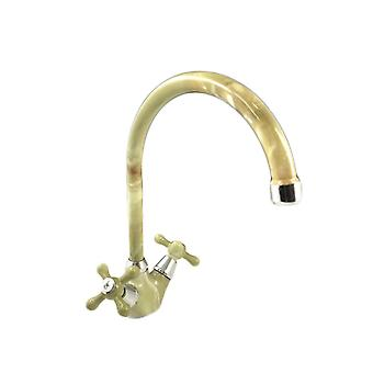 Kitchen Tap Or Bath, Vintage Style, Green Marble With Chrome Details
