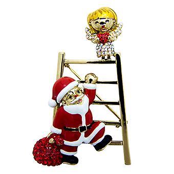 Butler & Wilson Angel and Santa Climbing Ladder Crystal Brooch
