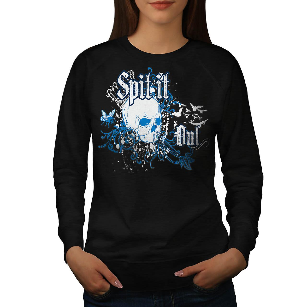 Skull Spit It Out Jaw Death Head Women Black Sweatshirt | Wellcoda
