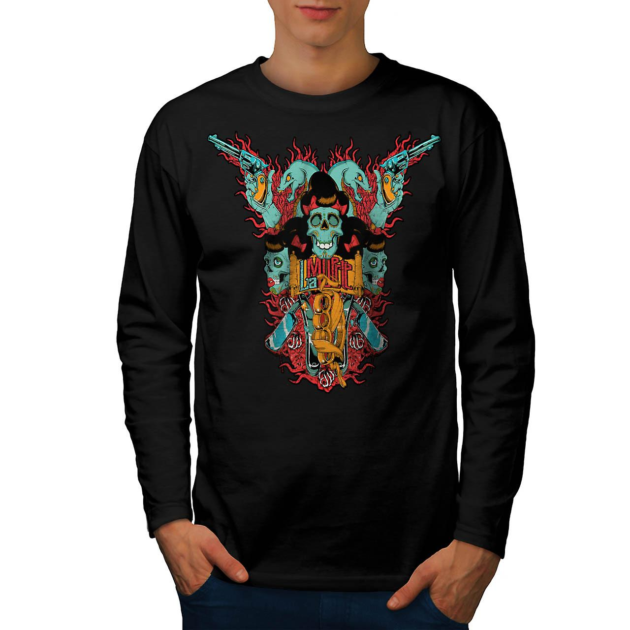 La Muerte Gun Dead Skull Men Black Long Sleeve T-shirt | Wellcoda