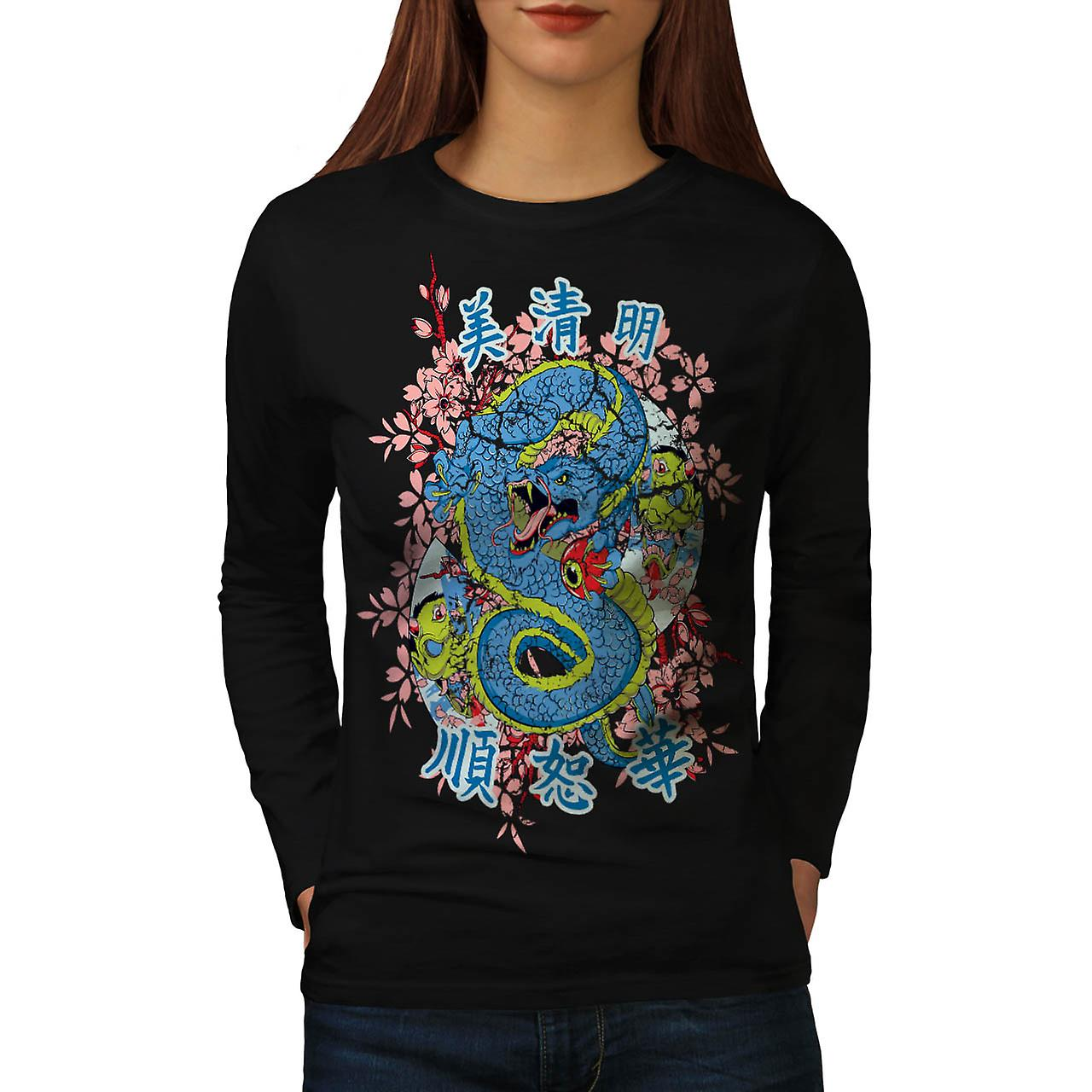 Dragon Chinese Legend Enter Myth Women Black Long Sleeve T-shirt | Wellcoda