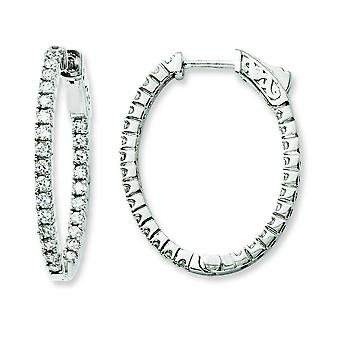 Sterling Silver Rhodium Plated Cubic Zirconia In and Out Oval Hoop Earrings