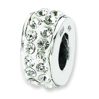 Sterling Silver Polished Reflections White Double Row Crystal Bead Charm