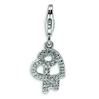 Sterling Silver Cubic Zirconia Heart and Key With Lobster Clasp Charm - Measures 28x12mm