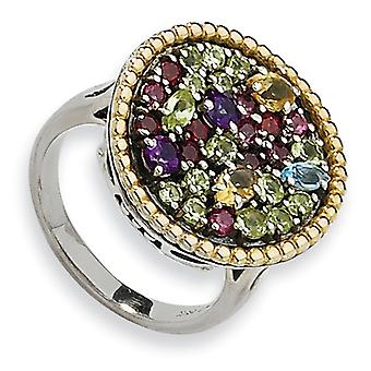 Sterling Silver Antique finish With 14k 1.88tw Multi Gemstone Ring - Ring Size: 6 to 8