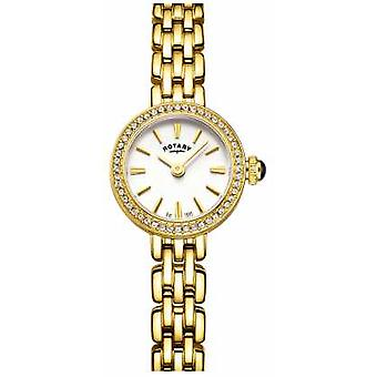 Rotary Womans Gold Plated Stone Set Cocktail LB05053/02 Watch