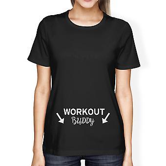 T-shirt grafica stampata Tee di allenamento Buddy donne per signora incinta
