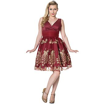 Dancing Days Burgundy Moonlight Escape Cross Front Dress L