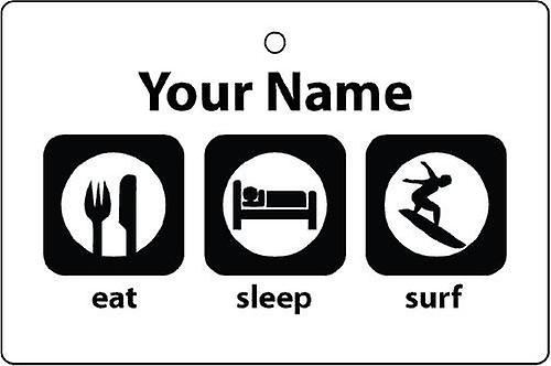 Personalised Eat Sleep Surfing Car Air Freshener