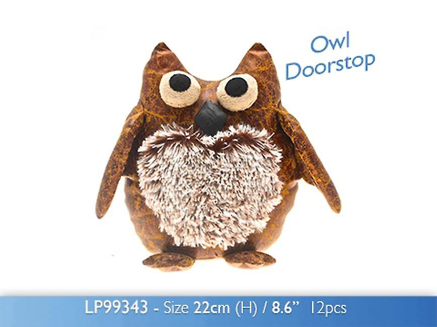 Faux Leather Owl Doorstop Stuffed Fabric Door Stopper 22cm