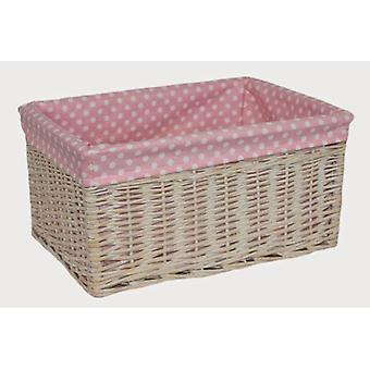 Large Pink Spotty Lined Storage Basket