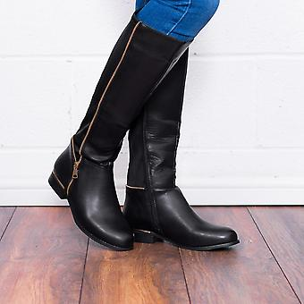 Spylovebuy PROVENCE Zip Flat Stretch Knee High Tall Boots - Black Leather Style