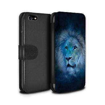 STUFF4 PU skinn lommebok Flip sak/Cover for Eple iPhone 7 / Leo/Lion Design / dyrekretsen Star Logg samling